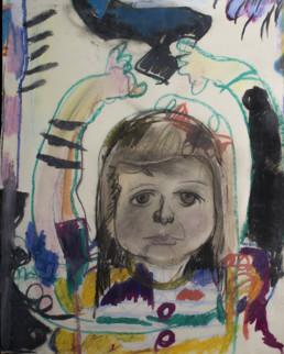 Pintura 'Mi hija vestida de con traje de gitana' de Fernando Peiró Coronado realizada en 1974 de manera compartida con su hija. Medidas 43x35.
