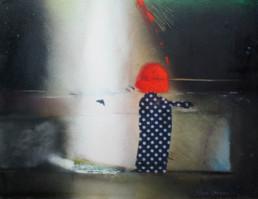Pintura 'Pensando en mi hija niña' de Peiró Coronado, medidas 25x33, realizada con spray, óleo y tela sobre cartulina preparada con polvo de mármol y látex.