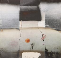 Pintura 'Entre pecho y pubis' de Fernando Peiró Coronado, medidas 25x24, realizada con spray, óleo y tinta china sobre cartulina preparada con polvo de mármol y látex.