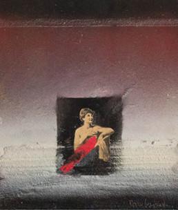 Pintura de Fernando Peiró Coronado realizada con spray, óleo y collage sobre cartulina preparada con polvo de mármol y látex. 24x21.