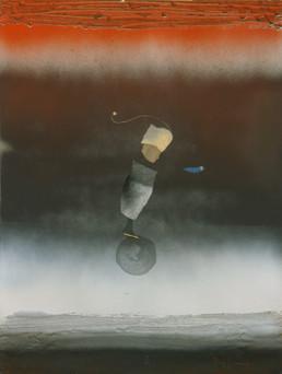 Pintura 'Juego de mago' de Fernando Peiró Coronado. Medidas 68x52. Obra realizada con collage, óleo y spray sobre cartulina preparada con arena y látex.