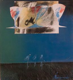 Pintura 'Celebración' de Fernando Peiró Coronado. Medidas 32x29. Obra realizada con collage, ceras y spray sobre cartulina preparada con arena y látex.