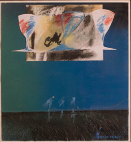 Pintura 'Brindis de las tres copas' de Fernando Peiró Coronado. Medidas 32x29. Obra realizada con collage, ceras y spray sobre cartulina preparada con arena y látex.