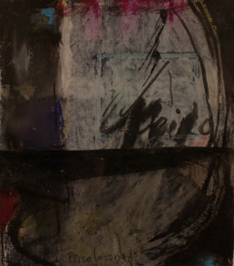 'A pesar de todo ingrávidamente solo' de Peiró Coronado, pintura realizada con ceras sobre cartulina, pintada en dos etapas, 1976-2007. Medidas, 14x12.