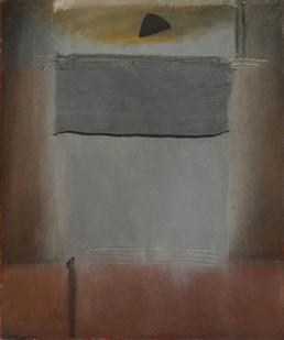 Pintura de Peiró Coronado.'Era necesario un delicado tul'. Técnica: óleo, spray, ceras y tul sobre tabla preparada matéricamente. Medidas 38x25.