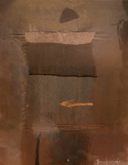 'Era necesario un delicado tul' de Fernando Peiró Coronado. Medidas 26x34. Óleo, spray, ceras y tul s sobre tabla preparada con arena y látex.