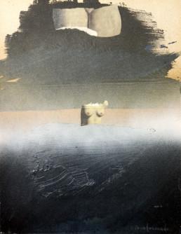 Pintura titulada 'Jugando con Magritte' de Peiró Coronado. Medidas, 33x26. Técnica, sprays y óleo sobre cartulina preparada con arena y látex.