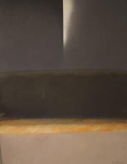 Pintura de Fernando Peiró Coronado , 'Paisaje nocturno', obra realizada con óleo sobre lienzo. Medidas 92x73. Espacialismo.