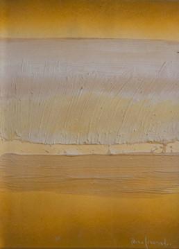 Pintura de Fernando Peiró Coronado, '¿Recuerdas aquel otoño?', 33x25. Obra realizada con spray y óleo sobre cartulina preparada con arena y látex. Medidas 33x25.