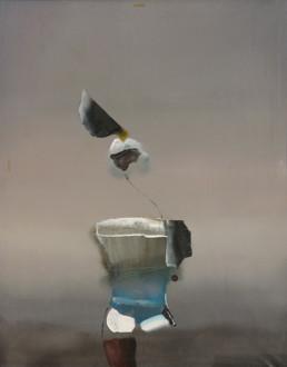 Pintura 'Extrañado se miró a sí mismo' de Fernando Peiró Coronado. Óleo sobre lienzo, medidas 92x73. Fondo atmosférico, evanescencias lumínicas.