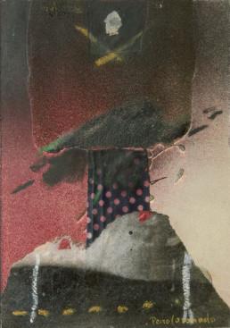 Pintura 'Pecho de mujer hecho montaña' de Fernando Peiró Coronado. Medidas 21x15. Realizada con óleo, ceras y spray sobre cartulina preparada con arena y látex.