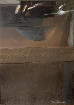 Pintura 'Alrededor de la idea' de Fernando Peiró Coronado. Obra realizada con óleo, ceras y spray sobre cartulina preparada con arena y látex..
