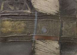 Pintura '¿Te acuerdas de aquellos evanescentes silencios' de Peiró Coronado. Medidas 15x21, realizada con óleo, ceras y spray sobre tabla preparada con arena y látex.