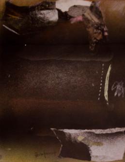 Pintura 'Retazos de uno mismo hacia el infinito' de Fernando Peiró Coronado. Obra realizada con óleo, pastel y spray sobre cartulina preparada con polvo de mármol y látex.