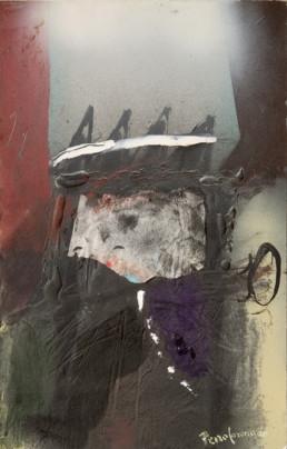 Pintura 'Jefe bélico' de Fernando Peiró Coronado. Medidas, 40x25, obra realizada con óleo y spray sobre cartulina preparada con arena y látex.