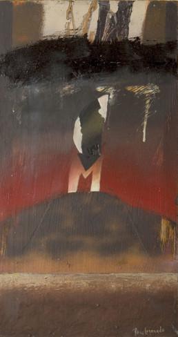 Pintura El Gólgota' de Fernando Peiró Coronado. 56x26. Óleo, ceras y collage sobre tabla preparada con polvo de mármol y látex.