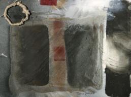 Pintura de Peiró Coronado realizada sobre table con óleo, spray y arena con látex que evoca la Velada de Manuel Azaña en Benicarló durante la Guerra Civil.