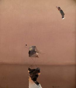 Pintura de Fernando Peiró Coronado, 'Científco con escolta', pertenece a la época más espacialista del pintor que presenta puntos de aproximación al expresionismo abstracto del pintor norteamericano de origen ruso Mark Rothko