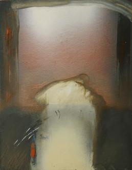 Pintura de Fernando Peiró Coronado, medidas 32x25. 'Es preciso partir' realizada con spray, óleo y ceras sobre cartulina previamente preparada con polvo de mármol y látex.