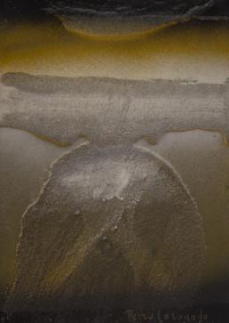 Pintura de pequeño formato, 'Idilio de formas' de Fernando Peiró Coronado. Obra realizada con spray y óleo sobre cartulina preparada con arena y látex.