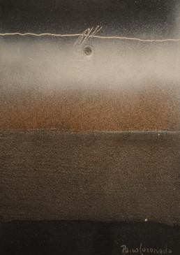 'Silencios al atardecer', pintura de pequeño formato del pintor Fernando Peiró Coronado. Obra espacialista realizada con spray sobre cartulina previamente preparada con arena y látex.