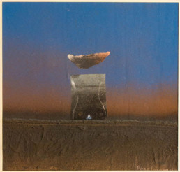 Pintura 'Integración en el orden cósmico' de Fernando Peiró Coronado, 1977. Obra realizada con spray, óleo, ceras y collage sobre cartulina preparada con arena y látex.