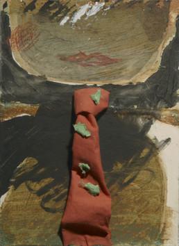 Pintura de Fernando Peiró Coronado. 'El señor del Paralelo', Medidas 21x15. Técnica, óleo, ceras y tela cartulina.