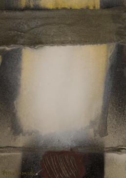 Pintura de Fernando Peiró Coronado. 'Luz esperanzadora' obra de pequeño formato realizada en 1978. Técnica, óleo y spray sobre cartulina trabajada con arena y látex..