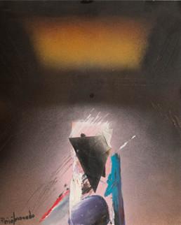Pintura 'Afortunadamente ido' de Fernando Peiró Coronado, realizada con spray, óleo y collage sobre cartulina preparada con arena y látex. Medidas 35x29