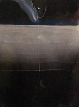 Pintura 'Llamada de la noche' de Fernando Peiró Coronado, realizada con óleo y spray sobre cartulina preparada con arena y látex. Medidas 33x25