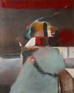 Pintura 'Lucha cotidiana del hombre' de Fernando Peiró Coronado. Obra realizada en óleo sobre lienzo. Medidas 92x73.
