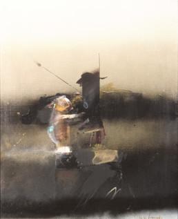 Pintura de Peiró Coronado. 'Quería envíar a la mujer a otra galaxia', Obra realizada en óleo sobre lienzo. Medidas 69x50. Colección del artista.