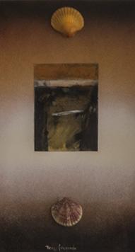 Pintura de Fernando Peiró Coronado. 'Tarde de otoño con dudas' . Medidas 48x26. Técnica, spray, conchas y collage de papel trabajado con ceras.