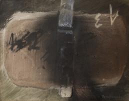 Pintura de Fernando Peiró Coronado. 'Círculo melancólico', obra realizada sobre tabla preparada con arena y látex en 1979. Medidas 25x32.
