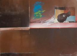 Pintura de Fernando Peiró Coronado. 'Espacios abiertos al juego con Braque' realizada en 1978. Técnica, spray, ceras, pastel y collage sobre cartulina.