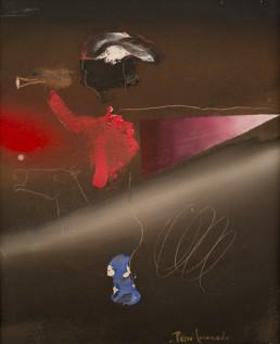 Pintura de Fernando Peiró Coronado, 'Toque de trompeta', Obra realizada en óleo sobre lienzo. Medidas 41x33.
