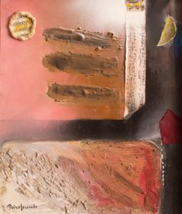 'Poética noche de fuga con la luna' obra de Fernando Peiró Coronado. Lienzo trabajado con una base de arena con látex.