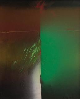 'Añoranza de verde en la ventana' obra de Fernando Peiró Coronado. Medidas, 45x37. Pintura realizada con óleo, spray y pastel sobre lienzo.