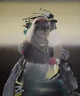 'La magia de la señora', pintura de Fernando Peiró Coronado. Medidas, 71x58. Óleo sobre lienzo, con la figura central. Fondo atmosférico, difuminados y evanescencias lumínicas.