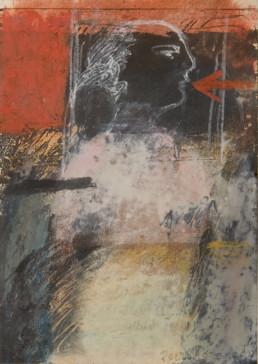 'Mujer estoica' obra de Fernando Peiró Coronado . Pintura de pequeño formato realizada con ceras sobre cartulina en 1980.