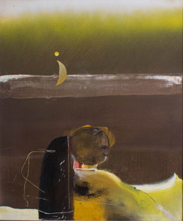 Pintura de Fernando Peiró Coronado. 'Hombre y paisaje de otro lugar' realizada en 1980. Óleo sobre lienzo, expresionismo abstracto. Mark Rothko.