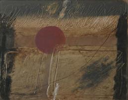 'Huellas dejadas en el tiempo', pintura de Fernando Peiró Coronado. Óleo y spray sobre tablapreparada matéricamente con arena y latex.