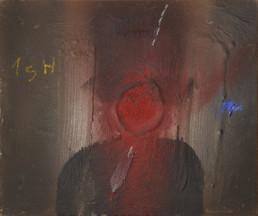 Pintura 'A pesar de todo paseaba con corbata' de Fernando Peiró Coronado realizada con spray , óleo y ceras sobre una tabla preparada con base de arena.