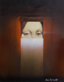 Pintura 'Ese inalcanzable misterioo de Leonardo' de Fernando Peiró Coronado , óleo sobre lienzo y sprays sobre cartulina superpuesta.. Medidas, 47x37.