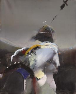 Pintura 'Viajera con su mundo' de Fernando Peiró Coronado. Óleo sobre lienzo, expresionismo abstracto. Medidas 61x50.