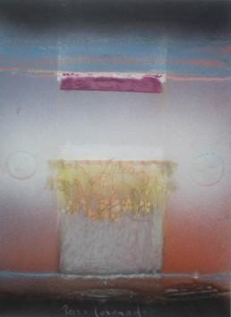 Pintura de Fernando Peiró Coronado. 'Recuerdos de cuna con puntilla acariciada' ,1984. 33x25. Spray, ceras y telas sobre cartulina preparada con arena y látex.