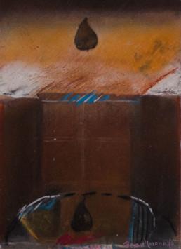 'Espacio compuesto para la pera' obra de Peiró Coronado. Pintura de pequeño formato realizada con ceras sobre cartulina. Medidas 21x15.