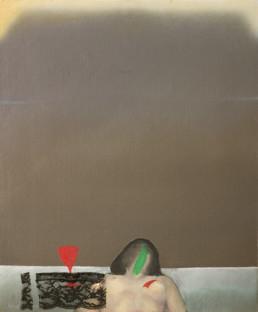 Pintura 'Brindis a solas de mujer madura' de Fernando Peiró Coronado , óleo sobre lienzo y puntilla. Medidas 57x48.