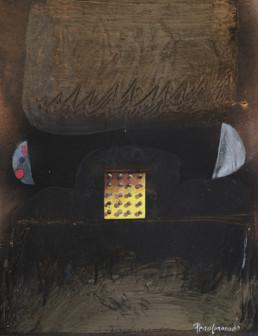 Pintura de Peiró Coronado, 'Génesis con lunas', realizada con óleo y spray sobre tabla preparada con polvo de mármol. Medidas, 33x25.
