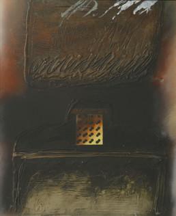 'Génesis' obra de Fernando Peiró Coronado. Medidas, 33x25. Pintura realizada con óleo y spray sobre tabla preparada con polvo de mármol.